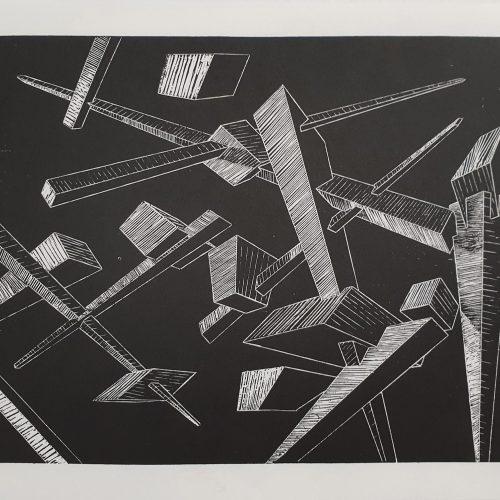 Geometrical Considerations 2-Woodcut Print on Paper-2017-50x35 cm-7 Copies