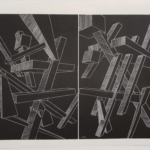 Geometrical Considerations 3-Woodcut Print on Paper-2017-50x35 cm-7 Copies